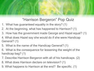 """Harrison Bergeron"" Pop Quiz"