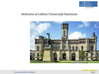 Welcome  at  Leibniz Universität Hannover