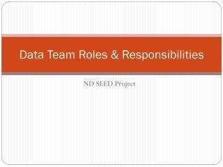 Data Team Roles & Responsibilities
