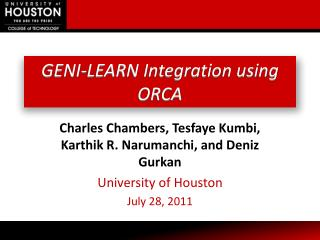 GENI-LEARN Integration using ORCA