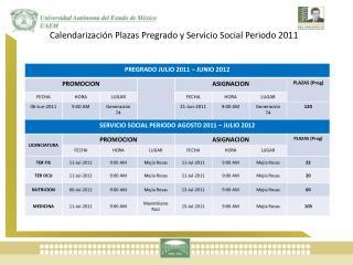 Calendarización Plazas Pregrado y Servicio Social Periodo 2011