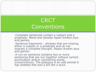 CRCT Conventions