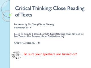 Critical Thinking: Close Reading of Texts