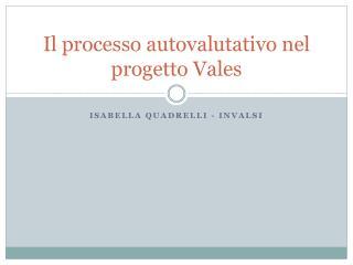 Il processo  autovalutativo  nel progetto  Vales