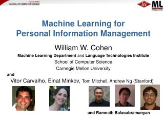 Machine Learning for  Personal Information Management