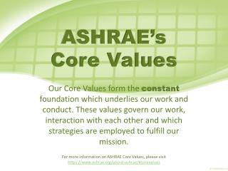 ASHRAE's  Core Values