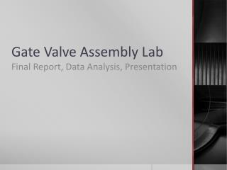Gate Valve Assembly Lab
