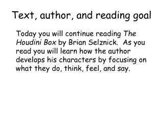 Text, author, and reading goal