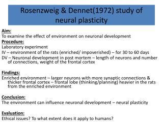 Rosenzweig  &  Dennet (1972) study of neural plasticity