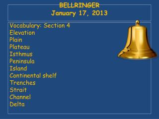 BELLRINGER January 17, 2013