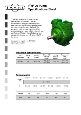 RVP 20 Pump Specifications Sheet
