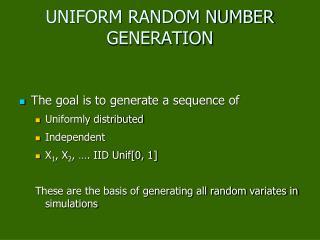 UNIFORM RANDOM NUMBER GENERATION
