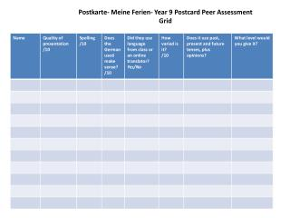 Postkarte -  Meine Ferien -  Year 9  Postcard  Peer Assessment  Grid