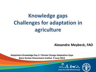 Knowledge gaps  Challenges for adaptation in agriculture