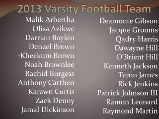 2013 Varsity Football Team