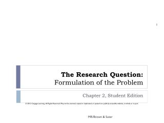 The Research Question: Formulation of the Problem