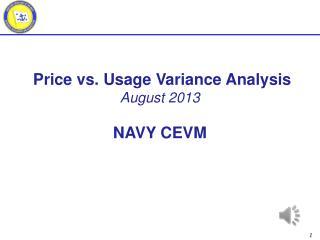 Price vs. Usage Variance Analysis August 2013 NAVY CEVM