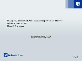 Sharepoint  Individual Performance Improvement Modules Diabetic Foot Exam Phase I Summary