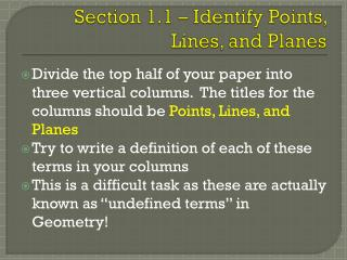 Section 1.1 – Identify Points, Lines, and Planes