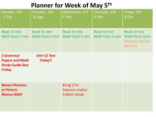Planner for Week of  May 5 th