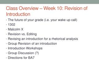 Class Overview – Week 10: Revision of Introduction