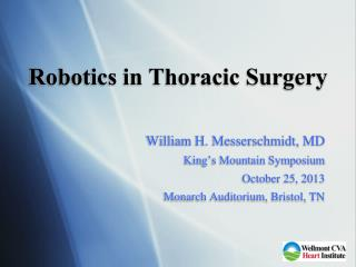 Robotics in Thoracic Surgery