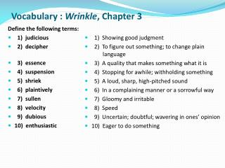 Vocabulary :  Wrinkle ,  Chapter 3