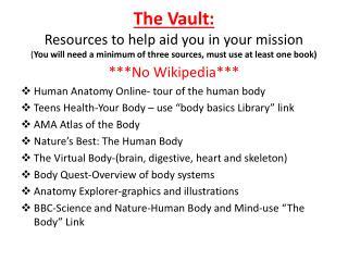 ***No Wikipedia*** Human Anatomy Online- tour of the human body