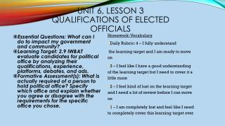 Unit 6, Lesson  3 Qualifications of Elected Officials