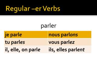 Regular – er  Verbs