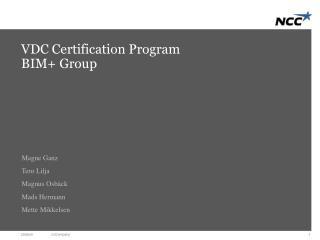 VDC Certification Program BIM+ Group