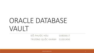 ORACLE DATABASE VAULT