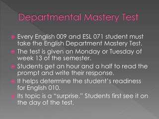 Departmental Mastery Test