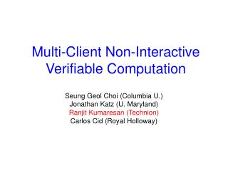 Multi-Client Non-Interactive Verifiable Computation
