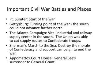 Important Civil War Battles  and Places