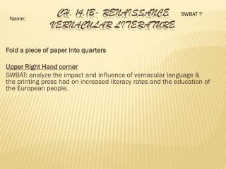Ch.  14.1B-  Renaissance  Vernacular Literature