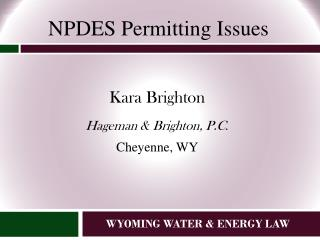 WYOMING WATER & ENERGY LAW