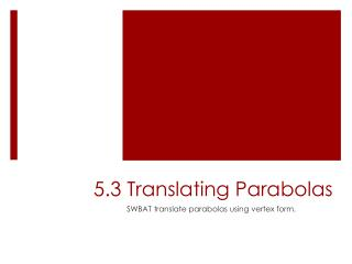 5.3 Translating Parabolas