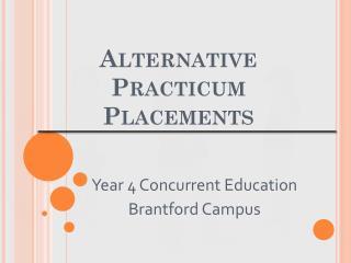 Alternative Practicum Placements