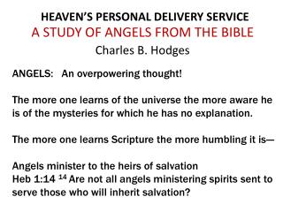 HEAVEN�S PERSONAL DELIVERY SERVICE