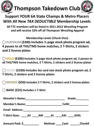 Support YOUR 6A State Champs & Metro Placers  With All New  TAX DEDUCTIBLE  Membership Levels