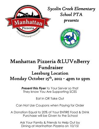 Manhattan  Pizzeria  & LUVnBerry Fundraiser Leesburg Location