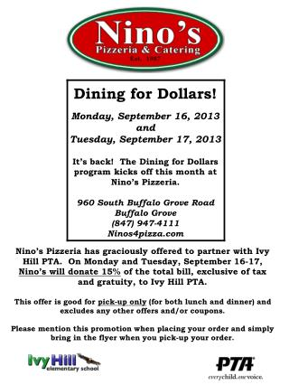 Dining for Dollars! Monday, September  16, 2013 and Tuesday, September  17, 2013