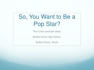 So, You Want to Be a Pop Star?