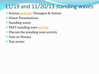 11/19 and 11/20/13 standing waves