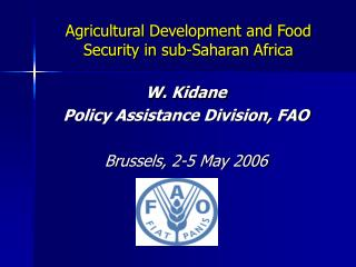 Agricultural Development and Food Security in sub-Saharan Africa