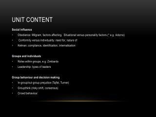 Unit Content