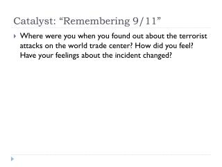 "Catalyst: ""Remembering 9/11"""