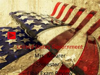 United States  Government Mrs. Maurer Semester 1 Final Exam Review