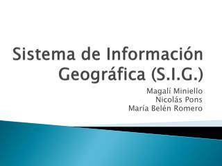Sistema de Información Geográfica (S.I.G.)